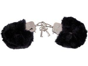 Pouta s kožíškem, černá – Pouta, lana a pásky na bondage (svazování)