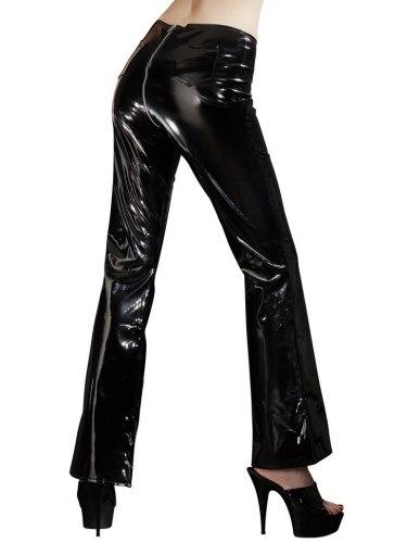 Lakované kalhoty s dvoucestným zipem