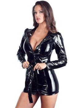 Lakované kabátové šaty s páskem – Lakované šaty