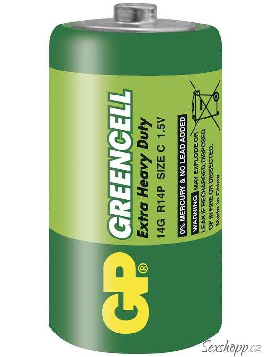 Baterie C GP Greencell, zinkochloridová