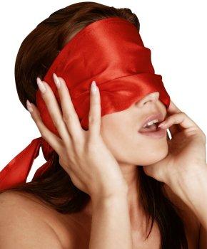 Saténový šátek na oči Bad Kitty, červený – Masky, kukly a šátky
