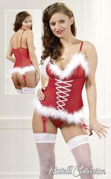 Vánoční korzet s kožíškem – Erotické prádlo s tématem Vánoc
