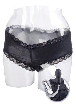 Dámské kalhotky a tanga: Kalhotky s vibrátorem/dildem, černé