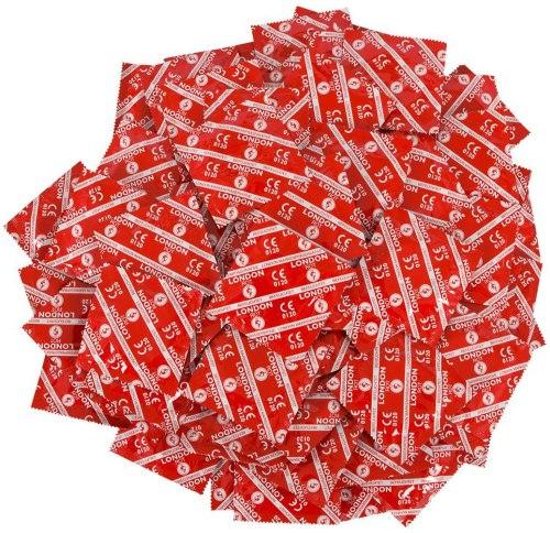 Výhodné balíčky kondomů: Balíček kondomů LONDON jahoda 45+5 ks zdarma