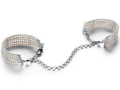Vzrušující intimní šperky, ozdoby a bižuterie: Perlová pouta - náramky, bílá