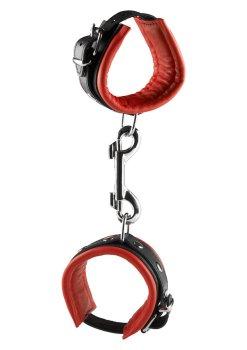 Kožená pouta na ruce, červená – Pouta, lana a pásky na bondage (svazování)