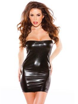 Lesklé minišaty bez ramínek Kissable Kitten – Sexy šaty a minišaty