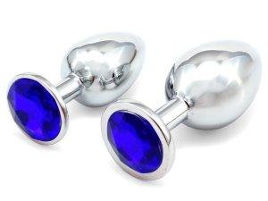 Anální kolík se šperkem, tmavě modrý