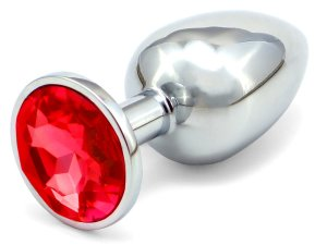 Anální kolík se šperkem, červený – Anální kolíky se šperkem