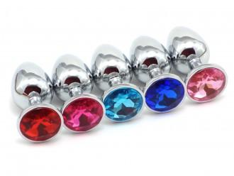 Anální kolík se šperkem, tmavě růžový