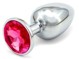 Anální kolík se šperkem, tmavě růžový – Anální kolíky se šperkem