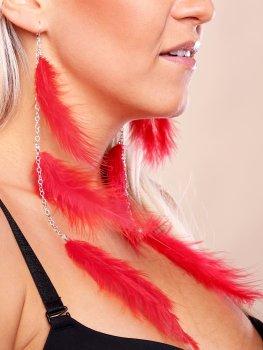 Peříčkové náušnice, červené – Vzrušující intimní šperky, ozdoby a bižuterie