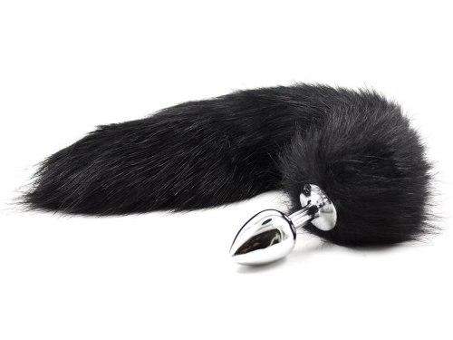 Anální kolíky s ocáskem: Anální kolík liščí ocásek, černý