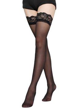 Samodržící punčochy s krajkovým lemem, černé – Dámské punčochy, punčochové kalhoty a ponožky