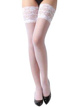 Samodržící punčochy s krajkovým lemem, bílé – Dámské punčochy, punčochové kalhoty a ponožky