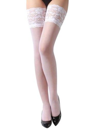 Samodržící punčochy s krajkovým lemem, bílé
