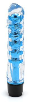 Transparentní vibrátor, modrý – Realistické vibrátory