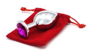 Anální kolík se šperkem, tmavě fialový