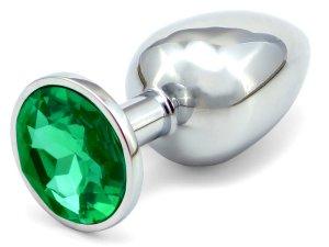 Anální kolík se šperkem, tmavě zelený – Anální kolíky se šperkem