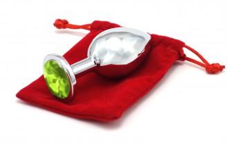 Anální kolík se šperkem, světle zelený