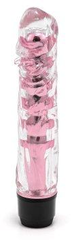 Transparentní vibrátor, světle růžový – Realistické vibrátory