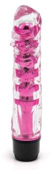 Transparentní vibrátor, tmavě růžový – Realistické vibrátory