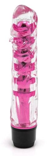 Realistické vibrátory: Transparentní vibrátor, tmavě růžový