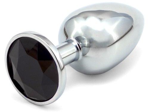 Anální kolík se šperkem, černý