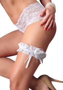 Krajkový podvazek se saténovou mašličkou - černý, bílý – Sexy dámské podvazky a podvazkové pásy