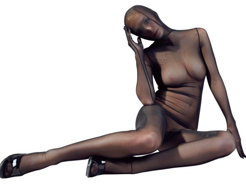 BDSM postroje, oblečení pro dominu, latex, kůže: Celotělový průhledný overal Phantom