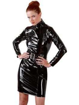 Lakované šaty s dlouhými rukávy a páskem – Dámské lakované prádlo, oblečení a obuv (vinyl)