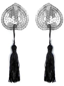 Ozdobná srdíčka na bradavky se střapci, stříbrná – Samolepky na prsa a bradavky