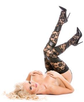 Krajkové punčochy s lesklými vsadkami + kalhotky s podvazky – Erotické punčochy