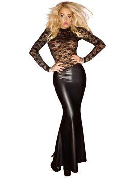 NOIR Dlouhé lesklé šaty s krajkovým topem – Sexy šaty a minišaty