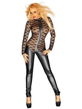 Celotělový lesklý overal s krajkovým body – Dámské catsuity a overaly