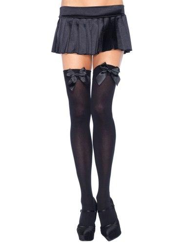 Dámské punčochy, punčochové kalhoty a ponožky: Punčochy se saténovou mašlí, neprůhledné