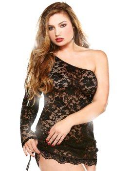 Provokativní asymetrické krajkové šaty – Sexy šaty a minišaty