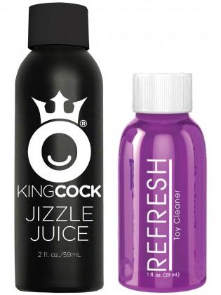"""Stříkající realistické dildo s varlaty King Cock 8"""""""