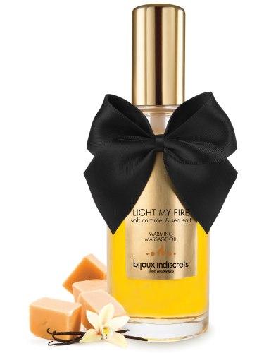Erotické masážní oleje, gely a emulze: Hřejivý masážní olej Light My Fire - karamel a mořská sůl