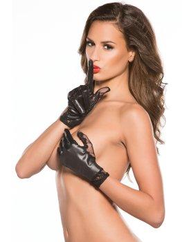 Lesklé rukavice s krajkovou vsadkou – Sexy dámské rukavice a návleky na ruce