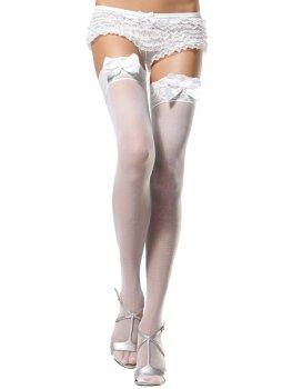 Punčochy s krajkovým lemem a saténovou mašlí, bílé – Erotické punčochy na podvazky