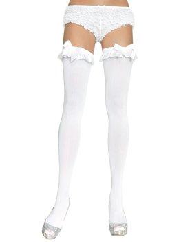 Punčochy s volánkovým lemem a saténovou mašlí, neprůhledné – Erotické punčochy na podvazky