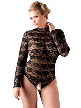 Krajkové body s otevřeným rozkrokem a dlouhými rukávy – Sexy dámská body
