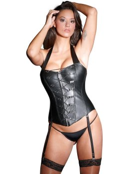 Kožený korzet se šněrováním a odnímatelnými podvazky – Sexy dámské kožené prádlo a oblečení