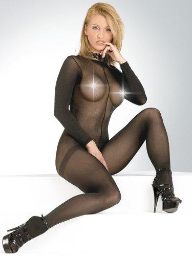 Dámské catsuity a overaly: Průsvitný catsuit s krajkovým límečkem a otevřeným rozkrokem