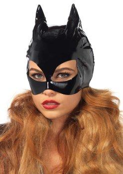 Tajemné i vzrušující škrabošky, masky a čelenky: Lakovaná maska s kočičíma ušima Cat Woman