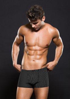 Boxerky s bílým proužkem, černé – Pánské boxerky, jocksy, slipy a tanga