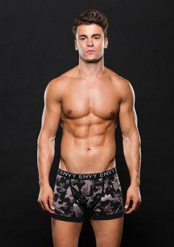 Boxerky s maskáčovým vzorem, šedé – Pánské boxerky, jocksy, slipy a tanga