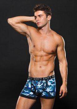 Boxerky s maskáčovým vzorem, modré – Boxerky