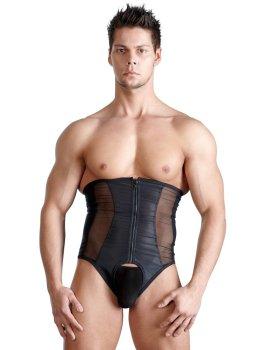 Korzet pro muže, černý s průsvitnými vsadkami – Doplňky k pánskému erotickému prádlu